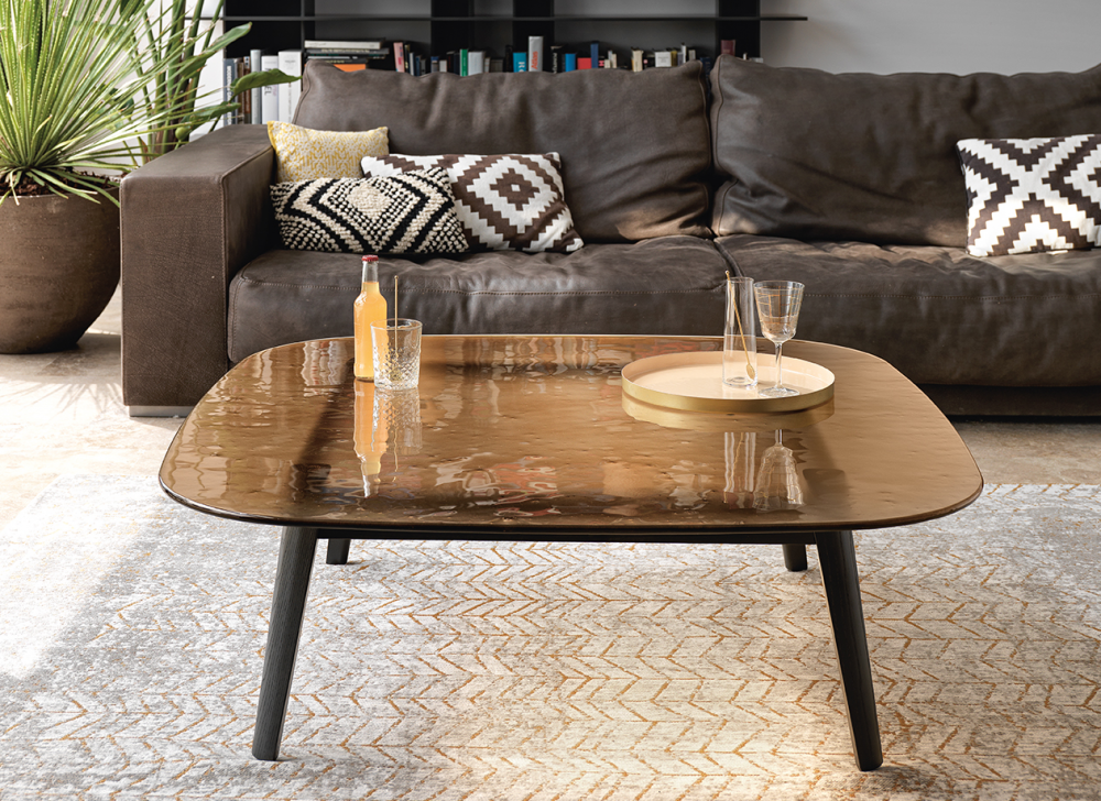 MAGMA COFFEE TABLE WITH FUSED GLASS TOP BY PATRICK JOUIN